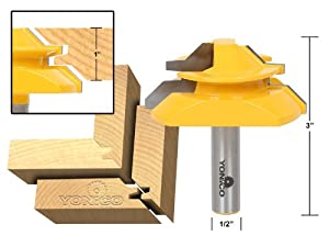 Yonico 15122 Large Lock Miter Router Bit with 45-Degree and 1-Inch Stock 1/2-Inch Shank