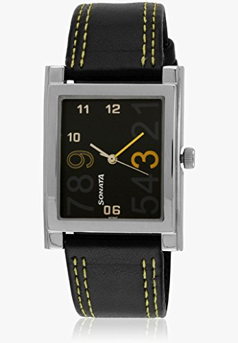 Sonata Black Dial Leather Analog Watch For Men - NG7925SL06A