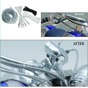 Baron Motorcycle Cable, Hose and Wire Chrome Dress-Up Kit