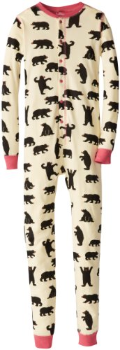 Hatley Big Girls' Union Suit - Pink Bears A Big Bear Bum, Natural, 8 front-1058298