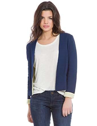 Springfield - Jacke mit offenem Kragen und farbigem Umschlag an den Ärmeln - Damen, L, indigo