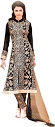Creative Boutique Black Coloured Georgette and Santoon Fancy Dress Material