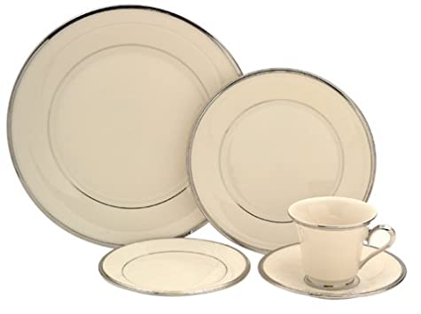 Lenox Solitaire Platinum-Bande​d Fine China 5-Piece Place Setting, Service for 1