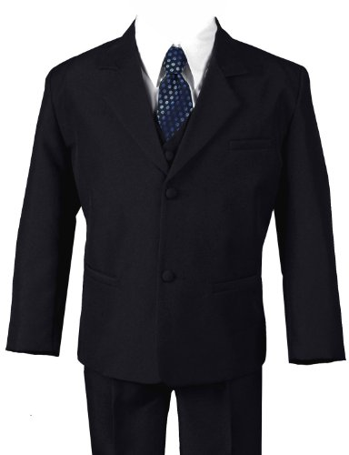 G186 Black/Blue Formal Boys Kids Dress Suit From Baby To Teen (7, Black/Blue) front-963111
