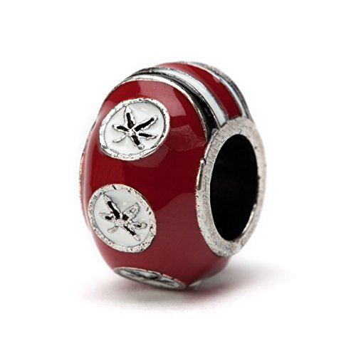 Ohio State Buckeyes 3-D SCARLET 6-Leaf Bead Charm- Fits Pandora & Others
