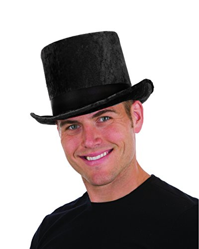 Crushed Velvet Black Top Hat Costume Accessory