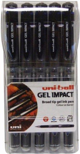 uni-ball Signo Gel Impact - Bolígrafo de tinta gel azul (5 unidades )
