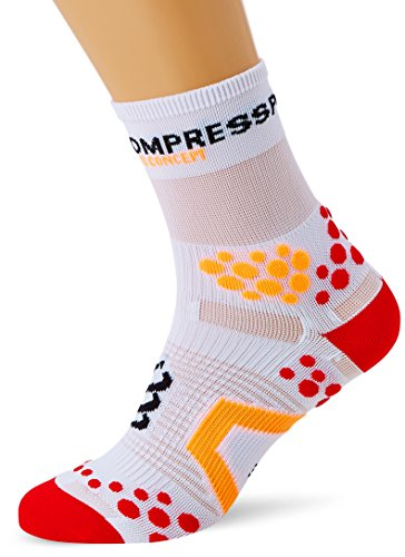Compressport Racing Socks V2.1 Run Hi Calzino Corsa da Gara e Allenamento, Bianco (White/Red), T3