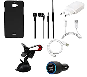 NIROSHA Cover Case Charger Headphone USB Cable Mobile Holder for Micromax Canvas Nitro 2 - Combo