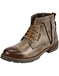 BACCA BUCCI MEN GREY GENUINE LEATHER BOOTS