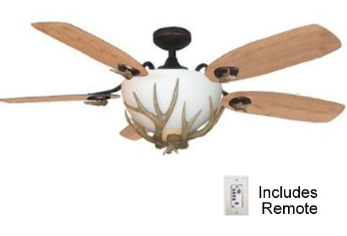 rustic ceiling fan with light has remote control up to 180 watts of light oil rubbed bronze body antler ceiling fan light blades 1 side blade is pine - Rustic Ceiling Fan