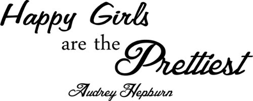 Happy Girls Are The Prettiest Audrey Hepburn Wall Art Wall Sayings Quote front-368970