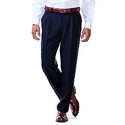 Haggar Repreve® Pleated Smart Fiber Dress Pant (36x28, Navy)
