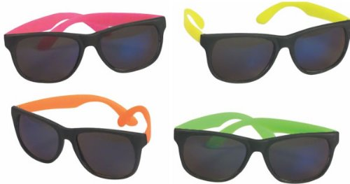 4 Neon Sunglasses Hip Hop 80's Shades Glasses