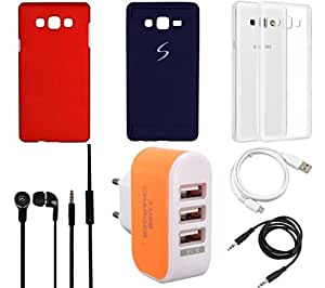 NIROSHA Cover Case Headphone USB Cable Charger car for Samsung Galaxy ON7 - Combo