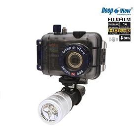 Waterproof Digital underwater Camera Deepview Hd16 Fujifilm Finepix Av250 + Watertight Housing 262 ft (80 mt) + Flashlight Lf300 3w