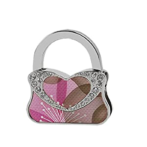 Faux Leather Coated Heart Detail Folding Alloy Handbag Table Hook