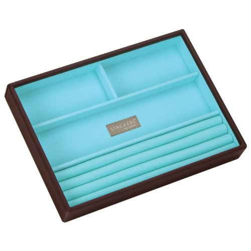 Stackers Jewellery Box | Classic Chocolate Brown & Bright Blue Ring & Bracelet Stacker