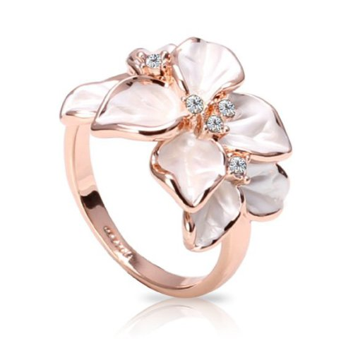 Fashion-Plaza-18k-Gold-Plated-White-Flower-Ring-with-Five-Crystals-Use-Cubic-Zirconia-R180