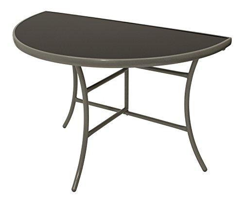 Wandtisch-PALERMO-halbrund-58x110cm-klappbar-Stahl-silberfarben-Glas-schwarz-Innen-und-Auen