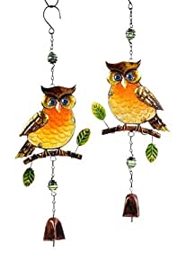Gift Craft 22-Inch Iron and Painted Glass Owl Design Bell Chimes, Large, Brown