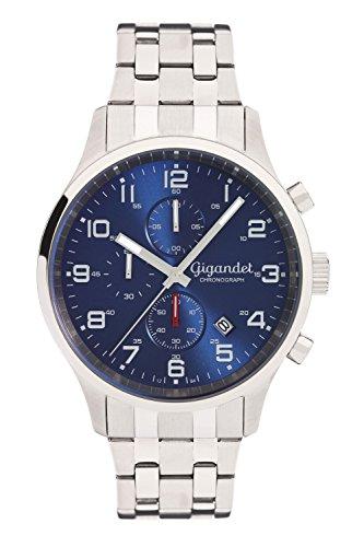 Gigandet Reloj de Hombre Cuarzo Red Touch Cronógrafo Analógico Correa de Acero Azul Plata G51-005