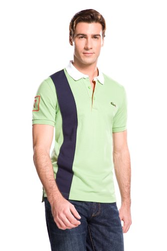 Short Sleeve Color Block Polo Shirt With Vertical Stripe