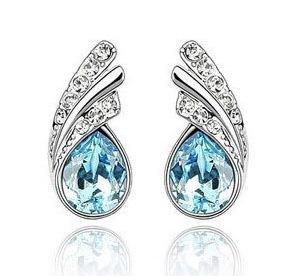 Swarovski Elements Sparkling Ladies Water Droplet Austrian Crystal Earrings For Women