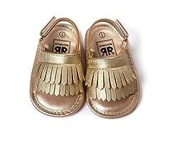 C&H 2016 Summer New Unisex Infant Baby Tassels Leather Soft Anti-Slip Prewalker Toddler Sandals (13cm(12-18months), Gold)
