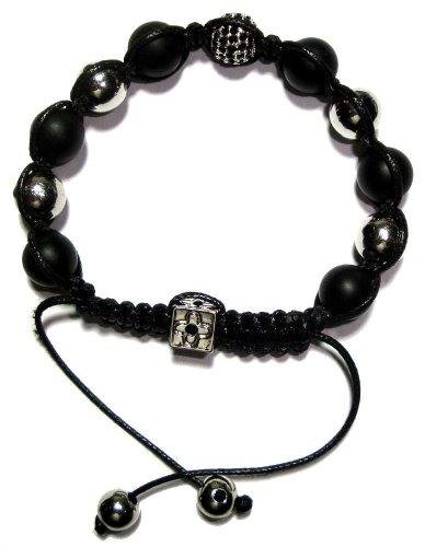 Alternating Silver Plated and Onyx Macrame Men Bracelet