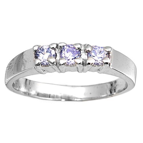 Sterling Silver Baby Ring with Lavender CZ - 3mm Band Width - 2mm Face Height - Sizes: 1-4, 4