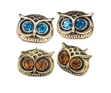 2 Pairs Gold Tone Blue & Amber Topaz Eyes Owl Stud Earrings By Truly Charming®
