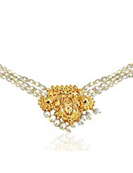 Surat Diamonds Gold Plated Pendant & 3 Line Real Rice Pearl & Gold Plated Beads Necklace For Women (SP396)