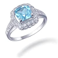 7MM Cushion Cut Natural Blue Topaz Ring In Sterling Silver 1.50 CT (Available In Sizes 5 - 9) from FineDiamonds9