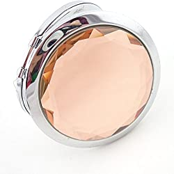 """KARPâ""""¢ Double Sides Portable Foldable Pocket Makeup Compact Mirror Metal Ladies Round Crystal Make-up Mirror Cosmetic Mirror- Cream"""