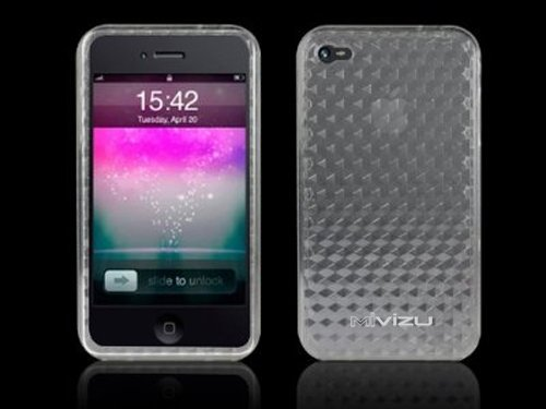 Mivizu iPhone 4 Clear Case, HD jelly Skin case with diamond cut design compatible for iPhone 4, iPhone 4G, iPhone 4th Gen, with MiniSuit LCD Cleaner