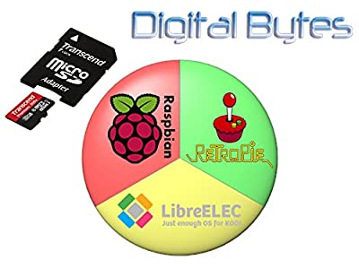 Raspberry Pi 2 and 3 Triple Boot 64GB MicroSDHC Card - Raspbian, RetroPie, LibreELEC
