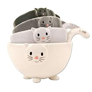 Ceramic Cat Measuring Cups  Baking Bowls by One Hundred and Eighty Degrees