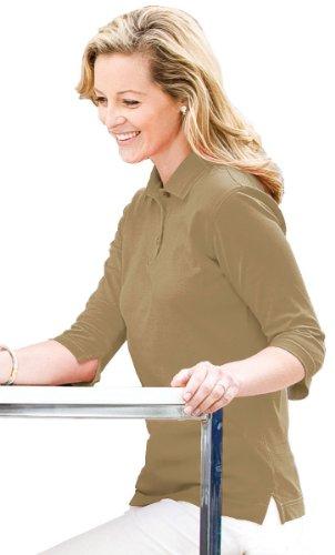 Tri-Mountain Womens Double Mercerized Cotton Pique 3/4 Sleeve Golf Shirt. 443 - Khaki_S front-563627
