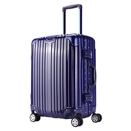 スーツケース 機内持込 TSAロック 全5色 S M L XL サイズ 超軽量 ABS+PC 鏡面 アルミフレーム ファスナーがない ブルー SS