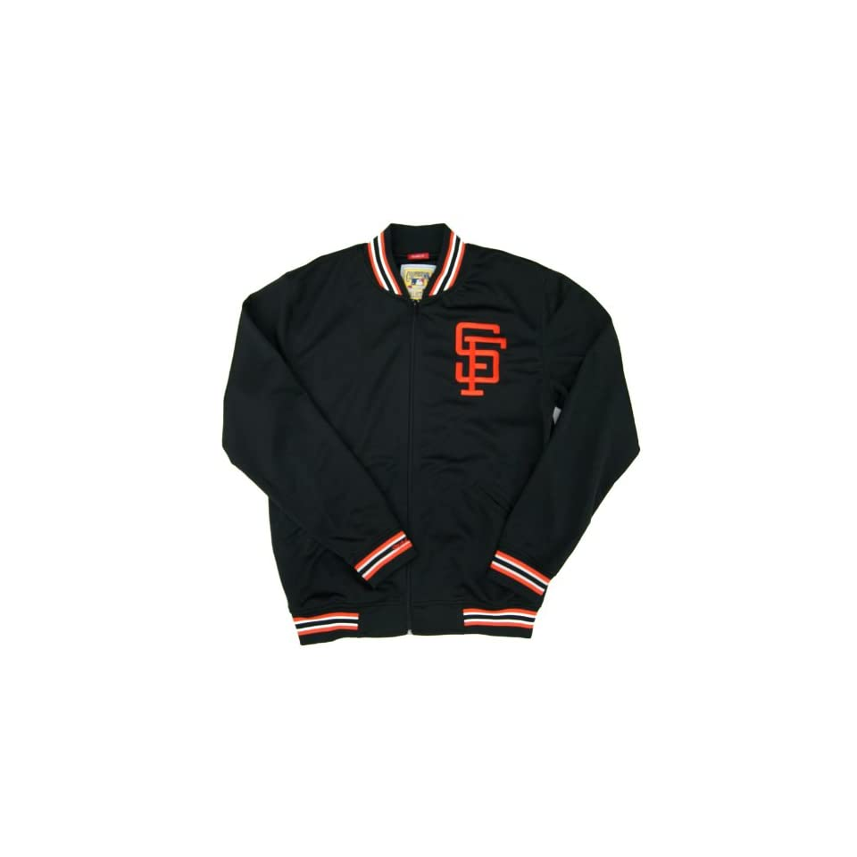 MLB Mitchell & Ness 1987 San Francisco Giants Cooperstown Collection Authentic Full Zip BP Jacket   Black (X Large)