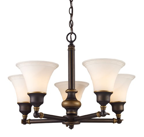 Landmark 66177-5 Lurray 5-Light Chandelier, 24-1/2-Inch, Aged Bronze