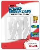 Pentel Hi-Polymer Eraser Caps Non-Abrasive Erasers, Pack of 10 (ZEH02BP10)