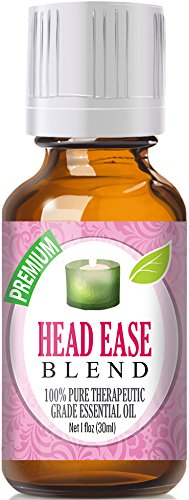 Head Ease 100% Pure, Best Therapeutic Grade Essential Oil - 30ml / 1 (oz) Ounce- Comparable to DoTerra's PastTense & Young Living's M-Grain Blend - French Lavender, Peppermint, Wintergreen, Basil, Frankincense, Rosemary, Sweet Marjoram, Sweet Orange