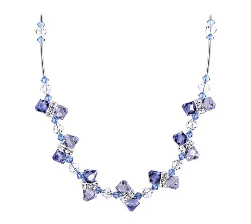 Sterling Silver Lavender Blue Clear Authentic Crystal Necklace 18 inch Long Made with Swarovski Elements