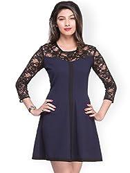 Amor Women's Polyester Dress(Amor_04_xs_Blue_XSmall)