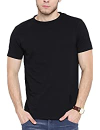 Colors Couture Half Sleeves Slim Fit Round Neck Black Cotton T-Shirt For Men