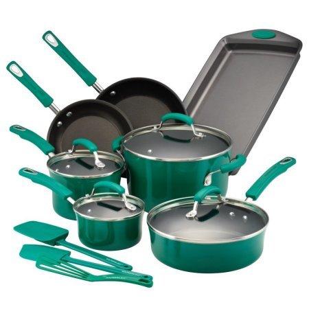 Rachael Ray Hard Porcelain Enamel Nonstick 14-Piece Cookware Set, Fennel Gradient (Cookware Set Green Gradient compare prices)