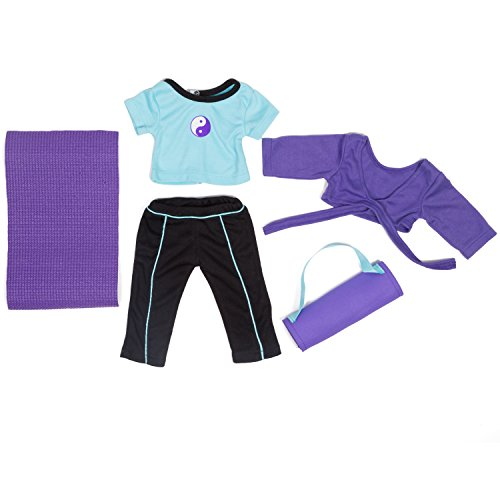 Yoga Outfit for American Girl Dolls: Includes Yoga Mat, Carrying Case, Leggings and Shirt