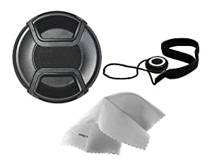Sony Alpha NEX-6 Lens Cap Center Pinch (40.5mm) + Lens Cap Holder + Nwv Direct Microfiber Cleaning Cloth.
